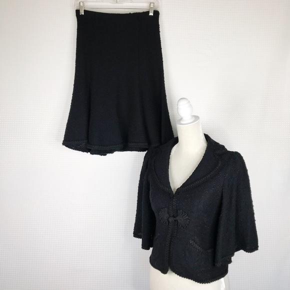Nanette Lepore Dresses & Skirts - Nanette Lepore Suit Small Black Tweed Skirt Blazer